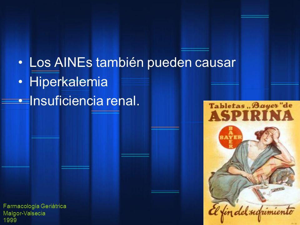 Los AINEs también pueden causar Hiperkalemia Insuficiencia renal. Farmacología Geriátrica Malgor-Valsecia 1999