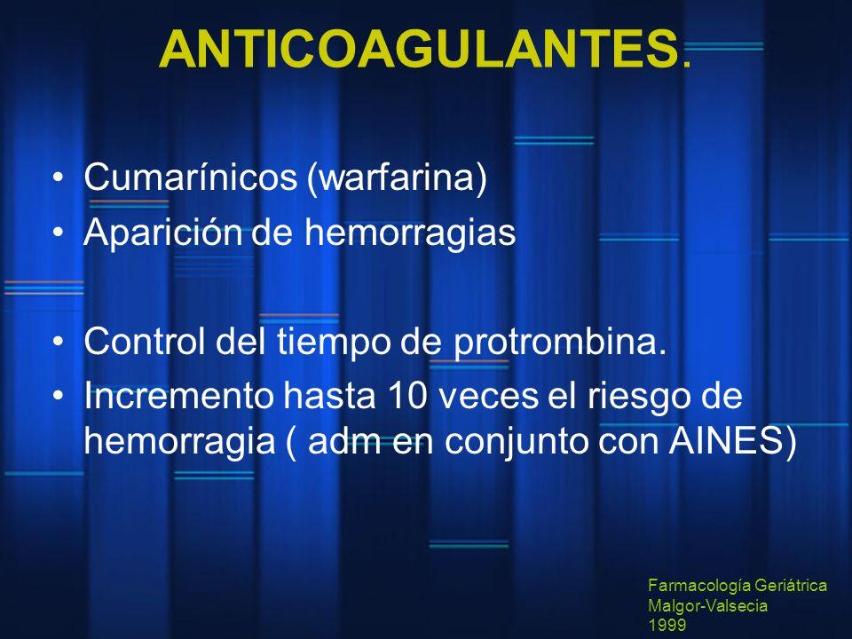 ANTICOAGULANTES. Cumarínicos (warfarina) Aparición de hemorragias Control del tiempo de protrombina. Incremento hasta 10 veces el riesgo de hemorragia