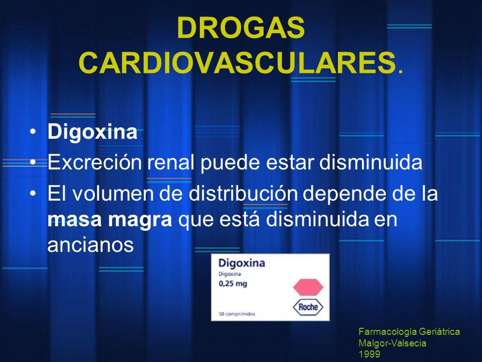 DROGAS CARDIOVASCULARES. Digoxina Excreción renal puede estar disminuida El volumen de distribución depende de la masa magra que está disminuida en an