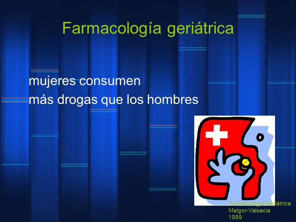Farmacología geriátrica mujeres consumen más drogas que los hombres Farmacología Geriátrica Malgor-Valsecia 1999