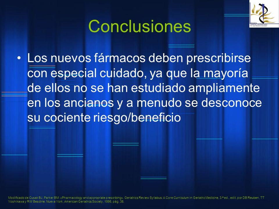 Conclusiones Los nuevos fármacos deben prescribirse con especial cuidado, ya que la mayoría de ellos no se han estudiado ampliamente en los ancianos y