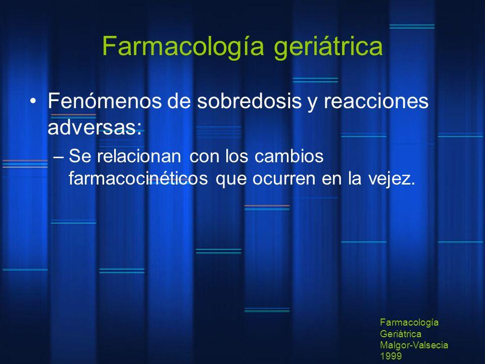 Farmacología geriátrica Fenómenos de sobredosis y reacciones adversas: –Se relacionan con los cambios farmacocinéticos que ocurren en la vejez. Farmac
