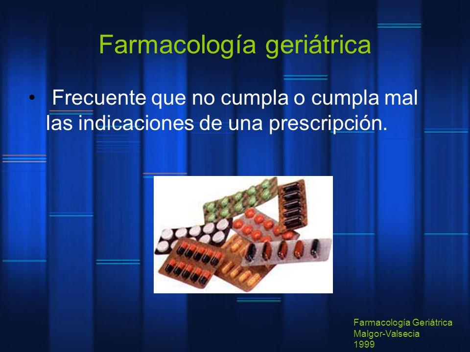 Farmacología geriátrica Frecuente que no cumpla o cumpla mal las indicaciones de una prescripción. Farmacología Geriátrica Malgor-Valsecia 1999