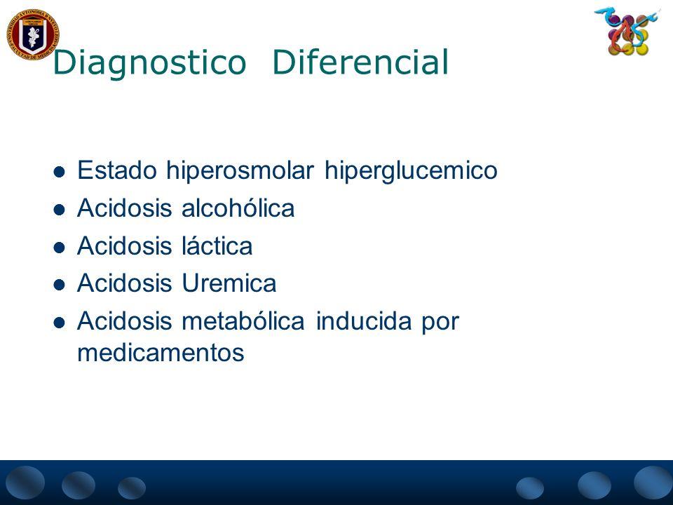 Diagnostico Diferencial Estado hiperosmolar hiperglucemico Acidosis alcohólica Acidosis láctica Acidosis Uremica Acidosis metabólica inducida por medi