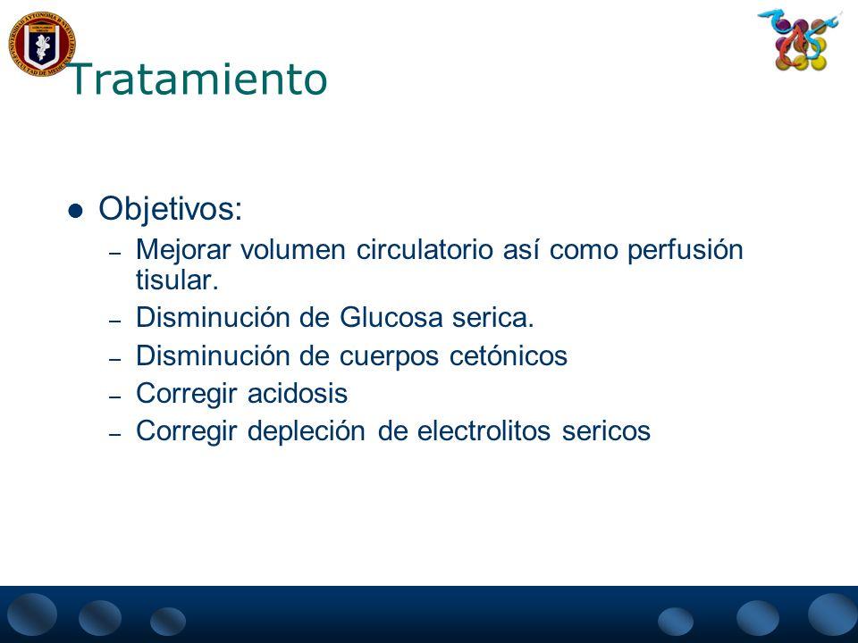 Tratamiento Objetivos: – Mejorar volumen circulatorio así como perfusión tisular. – Disminución de Glucosa serica. – Disminución de cuerpos cetónicos