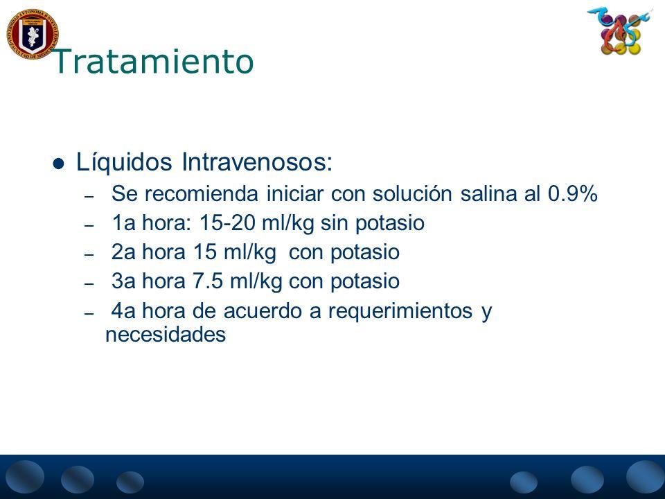 Tratamiento Líquidos Intravenosos: – Se recomienda iniciar con solución salina al 0.9% – 1a hora: 15-20 ml/kg sin potasio – 2a hora 15 ml/kg con potas