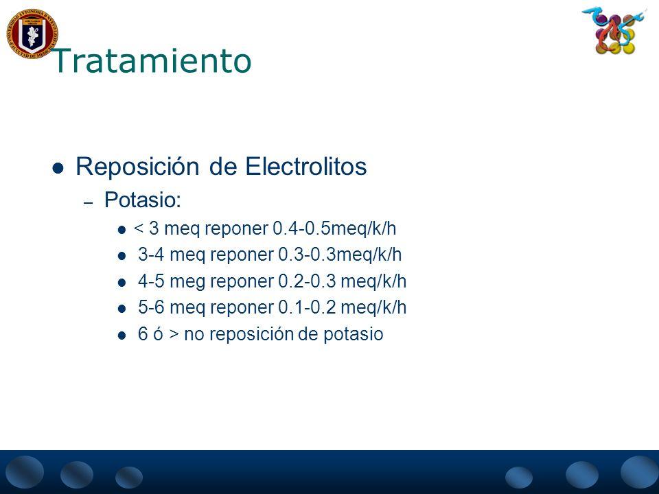 Tratamiento Reposición de Electrolitos – Potasio: < 3 meq reponer 0.4-0.5meq/k/h 3-4 meq reponer 0.3-0.3meq/k/h 4-5 meg reponer 0.2-0.3 meq/k/h 5-6 me