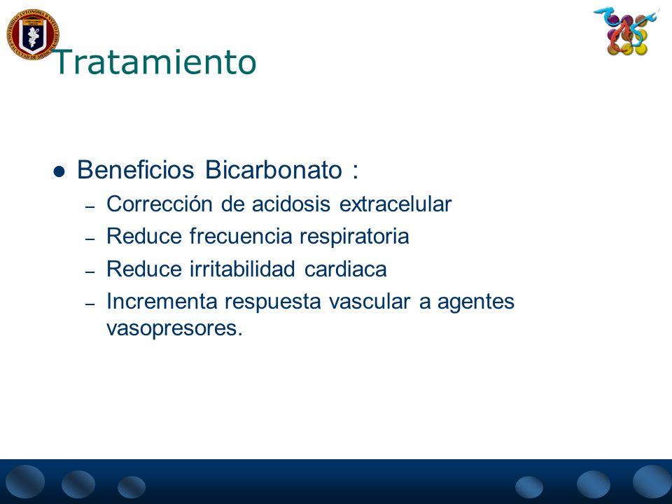 Tratamiento Beneficios Bicarbonato : – Corrección de acidosis extracelular – Reduce frecuencia respiratoria – Reduce irritabilidad cardiaca – Incremen