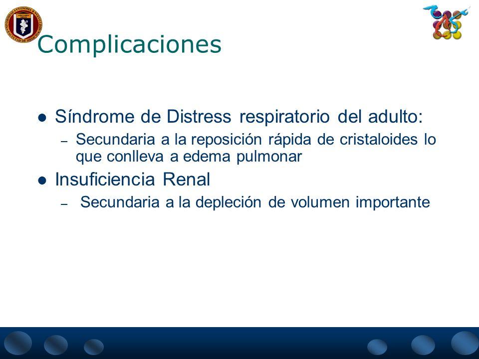 Complicaciones Síndrome de Distress respiratorio del adulto: – Secundaria a la reposición rápida de cristaloides lo que conlleva a edema pulmonar Insu