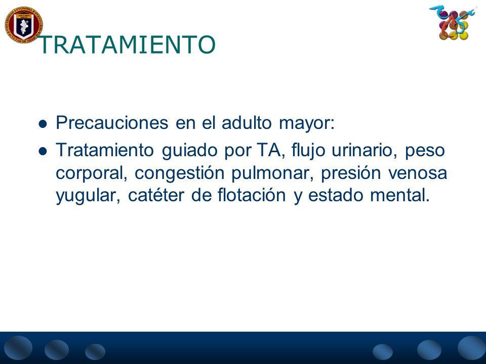 TRATAMIENTO Precauciones en el adulto mayor: Tratamiento guiado por TA, flujo urinario, peso corporal, congestión pulmonar, presión venosa yugular, ca