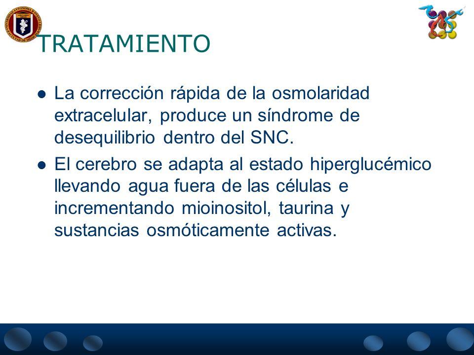 TRATAMIENTO La corrección rápida de la osmolaridad extracelular, produce un síndrome de desequilibrio dentro del SNC. El cerebro se adapta al estado h