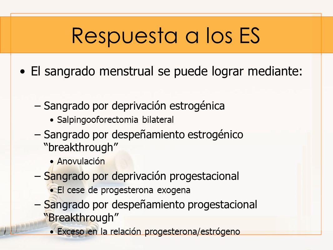 Respuesta a los ES El sangrado menstrual se puede lograr mediante: –Sangrado por deprivación estrogénica Salpingooforectomia bilateral –Sangrado por d