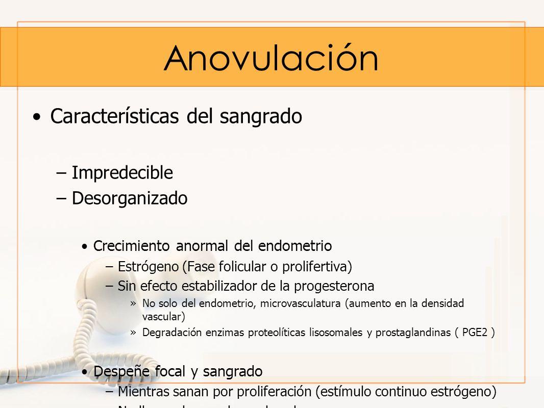 Anovulación Características del sangrado –Impredecible –Desorganizado Crecimiento anormal del endometrio –Estrógeno (Fase folicular o prolifertiva) –S