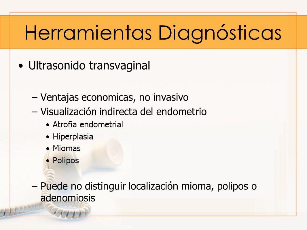 Herramientas Diagnósticas Ultrasonido transvaginal –Ventajas economicas, no invasivo –Visualización indirecta del endometrio Atrofia endometrial Hiper