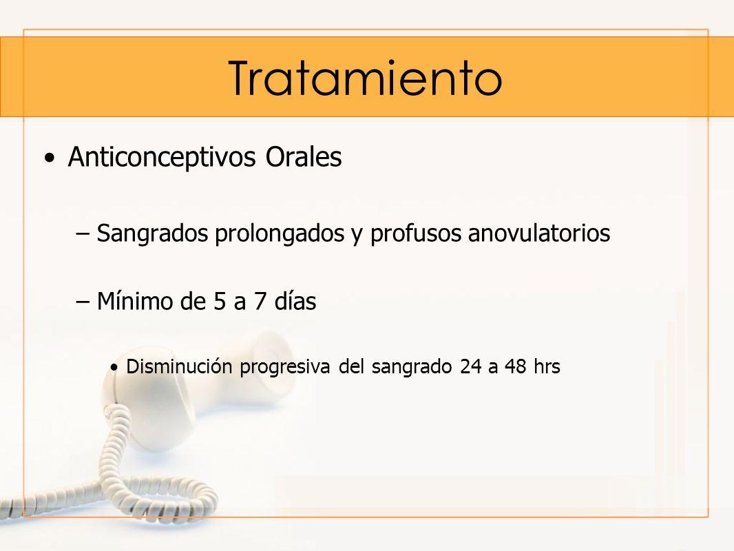Tratamiento Anticonceptivos Orales –Sangrados prolongados y profusos anovulatorios –Mínimo de 5 a 7 días Disminución progresiva del sangrado 24 a 48 h