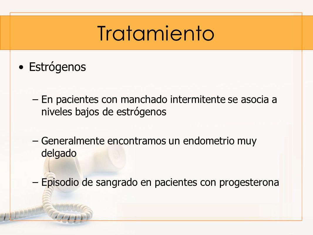Estrógenos –En pacientes con manchado intermitente se asocia a niveles bajos de estrógenos –Generalmente encontramos un endometrio muy delgado –Episod