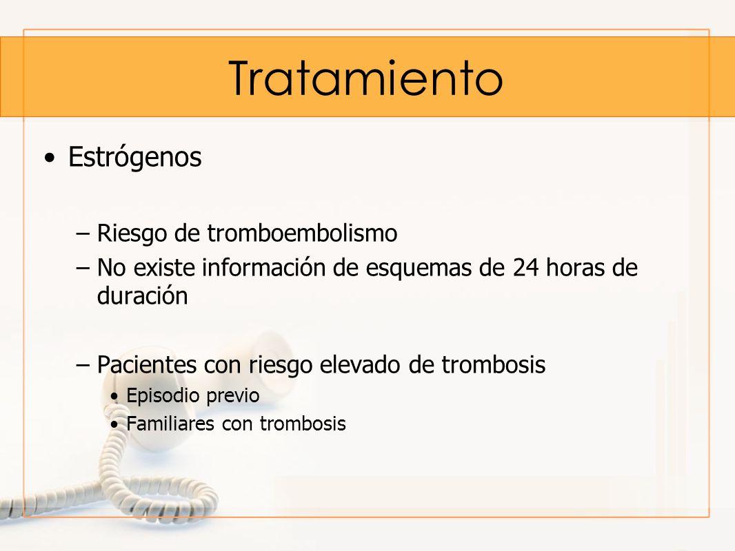 Tratamiento Estrógenos –Riesgo de tromboembolismo –No existe información de esquemas de 24 horas de duración –Pacientes con riesgo elevado de trombosi