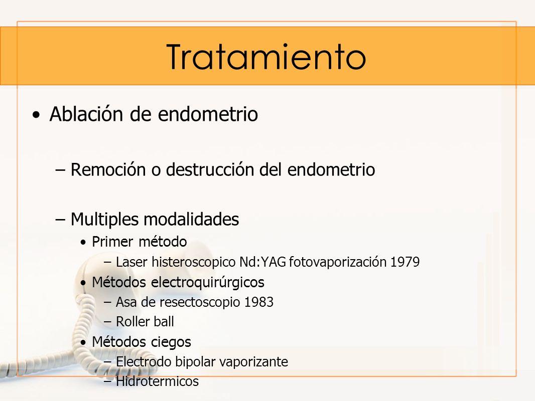 Tratamiento Ablación de endometrio –Remoción o destrucción del endometrio –Multiples modalidades Primer método –Laser histeroscopico Nd:YAG fotovapori