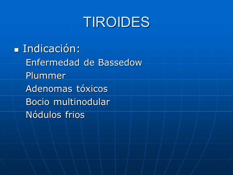 TIROIDES Indicación: Indicación: Enfermedad de Bassedow Plummer Adenomas tóxicos Bocio multinodular Nódulos frios
