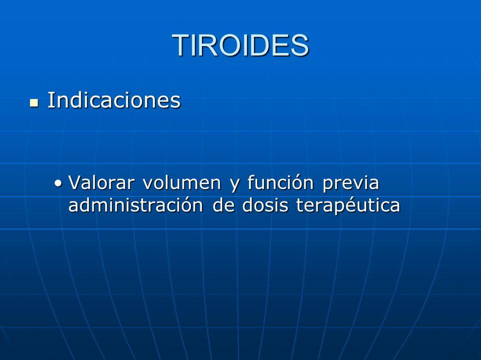 TIROIDES Indicaciones Indicaciones Valorar volumen y función previa administración de dosis terapéuticaValorar volumen y función previa administración