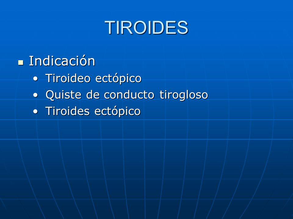 TIROIDES Indicación Indicación Tiroideo ectópico Tiroideo ectópico Quiste de conducto tirogloso Quiste de conducto tirogloso Tiroides ectópico Tiroide