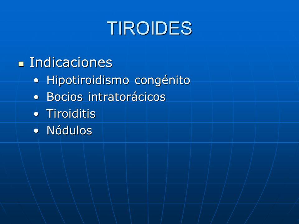TIROIDES Indicaciones Indicaciones Hipotiroidismo congénito Hipotiroidismo congénito Bocios intratorácicos Bocios intratorácicos Tiroiditis Tiroiditis