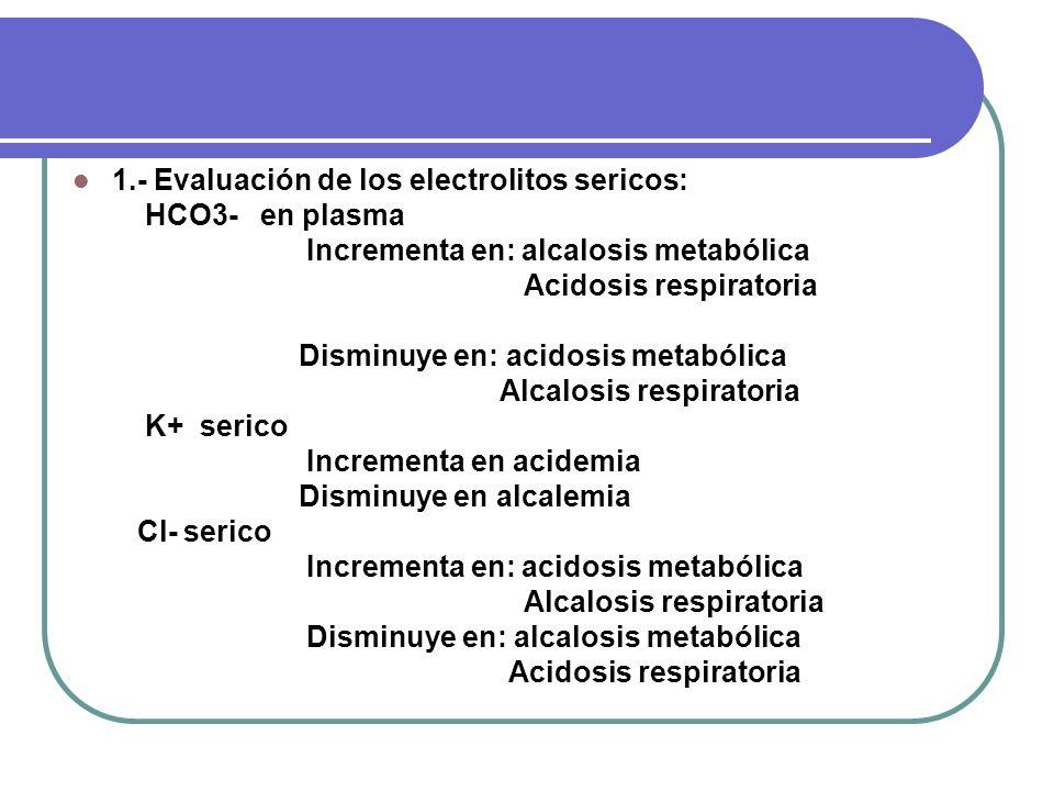 1.- Evaluación de los electrolitos sericos: HCO3- en plasma Incrementa en: alcalosis metabólica Acidosis respiratoria Disminuye en: acidosis metabólic