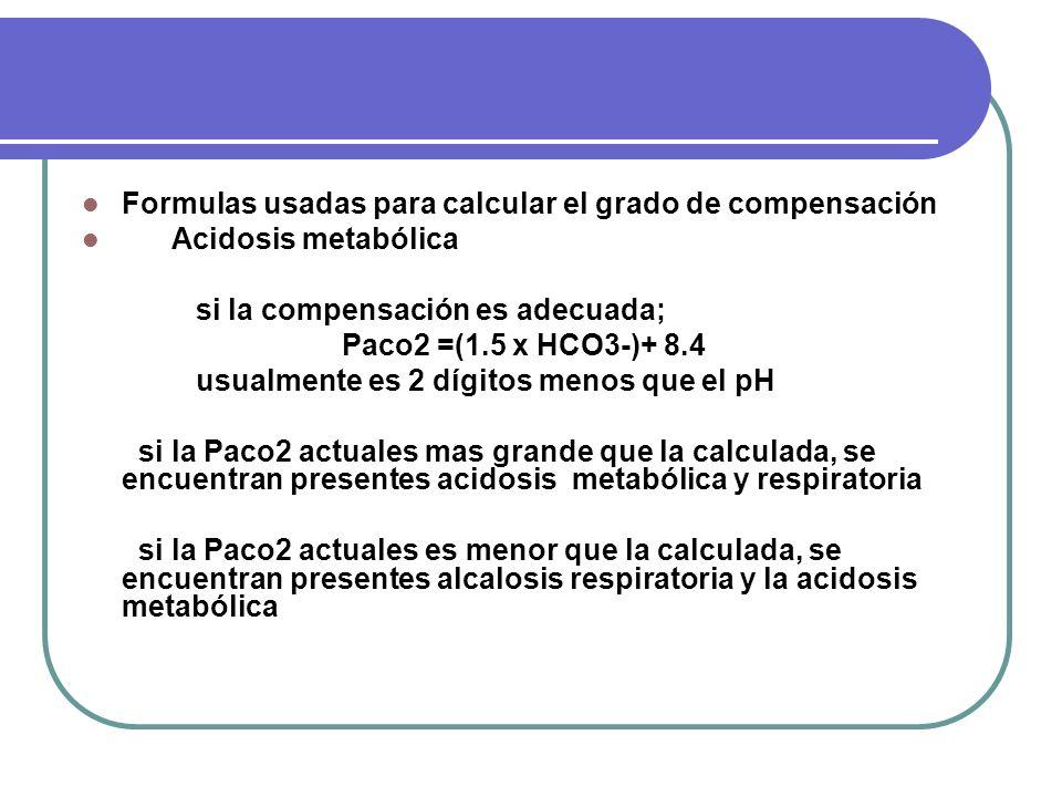 Formulas usadas para calcular el grado de compensación Acidosis metabólica si la compensación es adecuada; Paco2 =(1.5 x HCO3-)+ 8.4 usualmente es 2 d