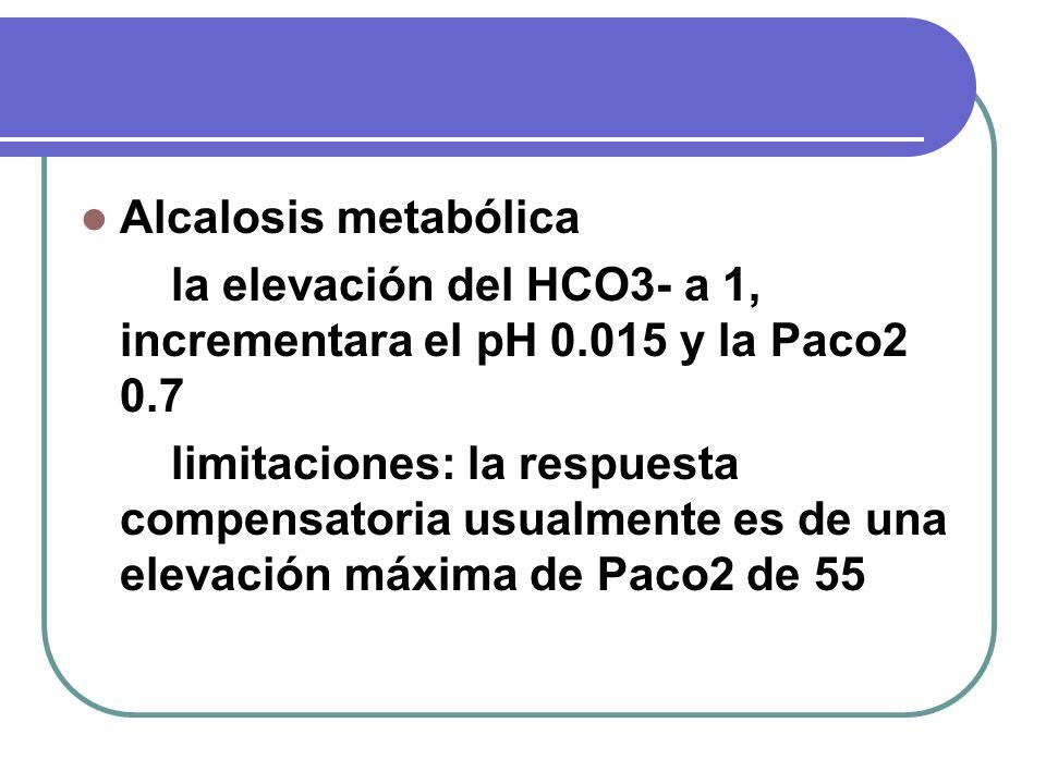 Alcalosis metabólica la elevación del HCO3- a 1, incrementara el pH 0.015 y la Paco2 0.7 limitaciones: la respuesta compensatoria usualmente es de una