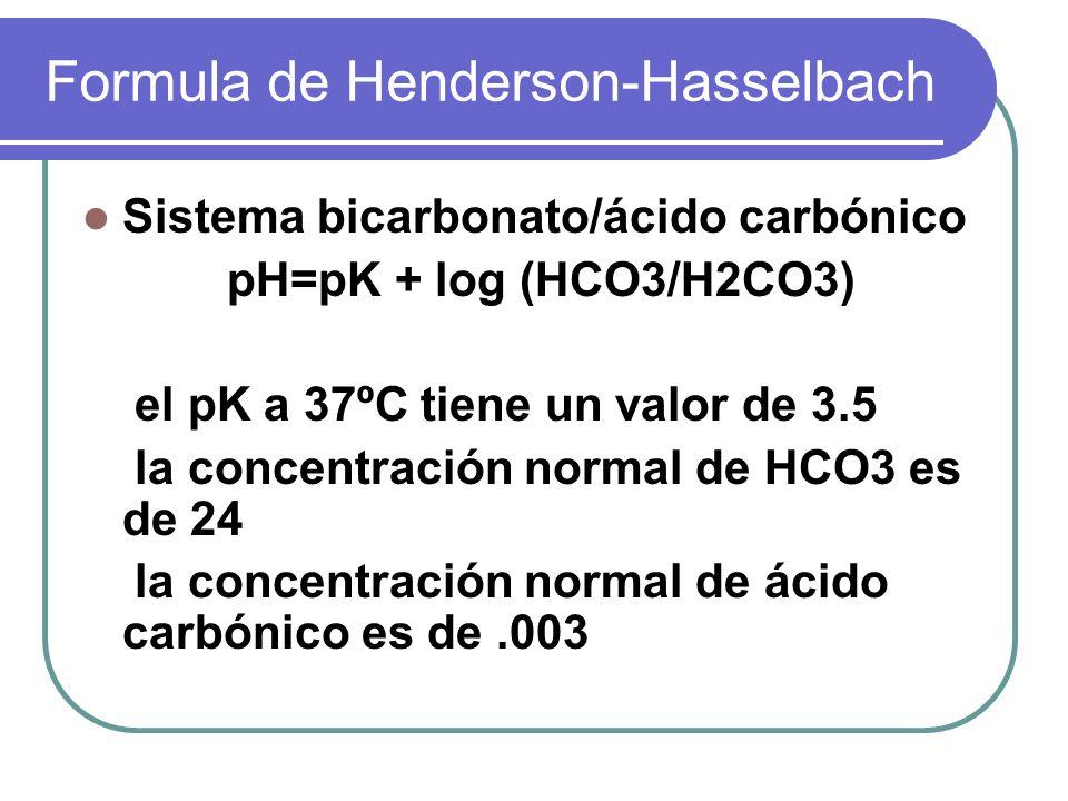 Formula de Henderson-Hasselbach Sistema bicarbonato/ácido carbónico pH=pK + log (HCO3/H2CO3) el pK a 37ºC tiene un valor de 3.5 la concentración norma