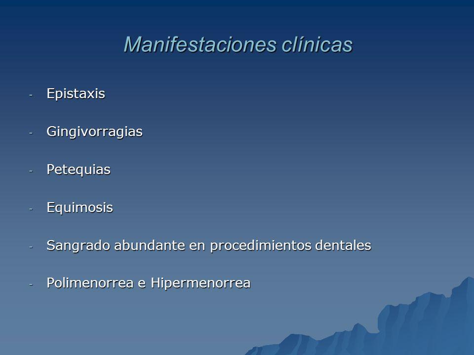 Manifestaciones clínicas - Epistaxis - Gingivorragias - Petequias - Equimosis - Sangrado abundante en procedimientos dentales - Polimenorrea e Hiperme