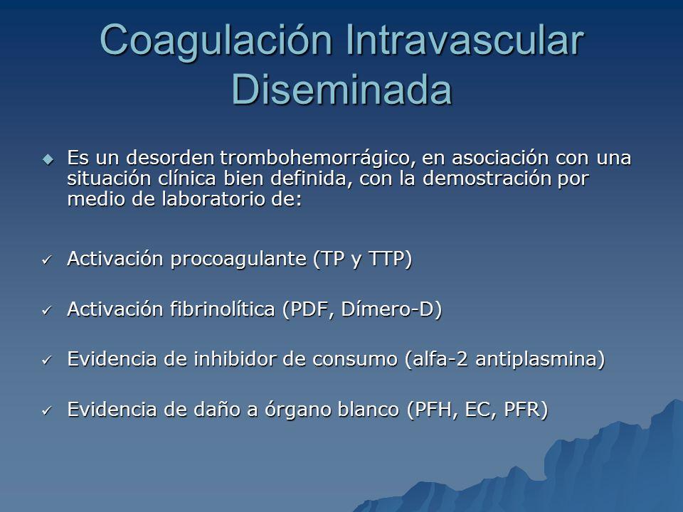 Coagulación Intravascular Diseminada Es un desorden trombohemorrágico, en asociación con una situación clínica bien definida, con la demostración por