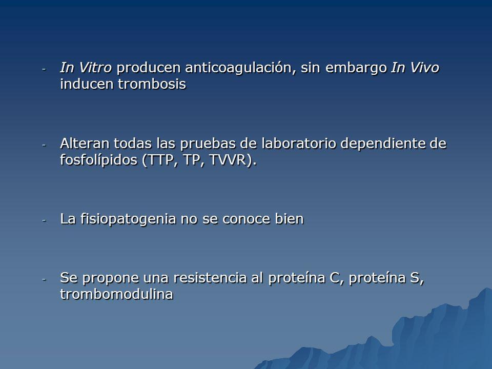 - In Vitro producen anticoagulación, sin embargo In Vivo inducen trombosis - Alteran todas las pruebas de laboratorio dependiente de fosfolípidos (TTP