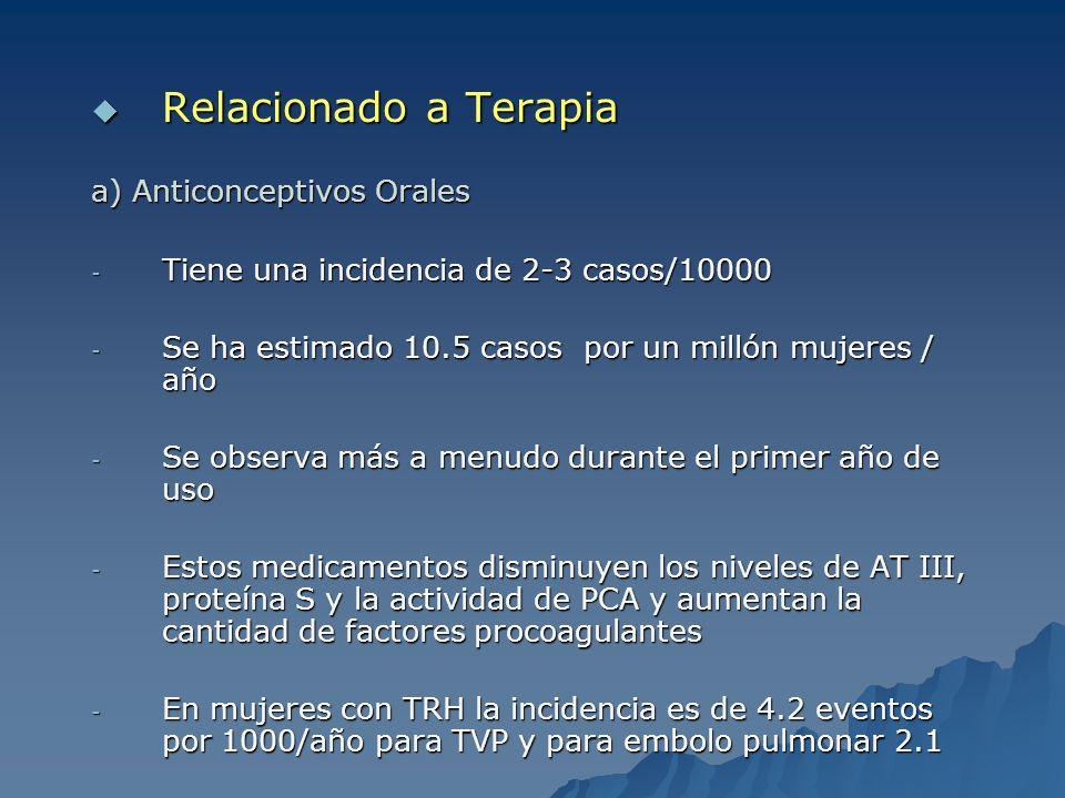 Relacionado a Terapia Relacionado a Terapia a) Anticonceptivos Orales - Tiene una incidencia de 2-3 casos/10000 - Se ha estimado 10.5 casos por un mil