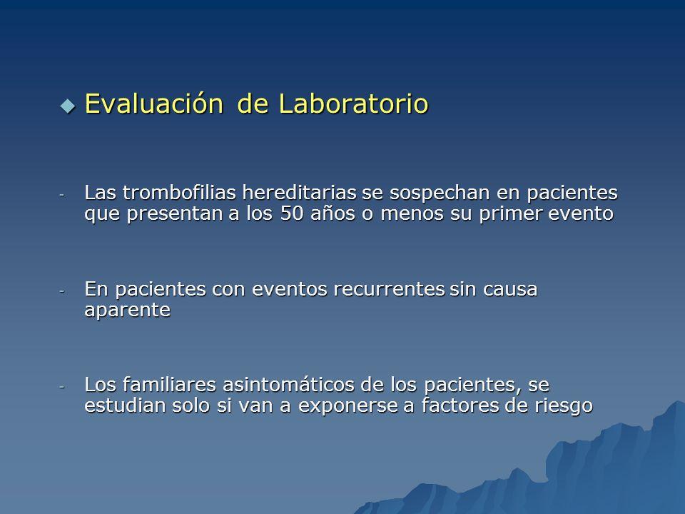 Evaluación de Laboratorio Evaluación de Laboratorio - Las trombofilias hereditarias se sospechan en pacientes que presentan a los 50 años o menos su p