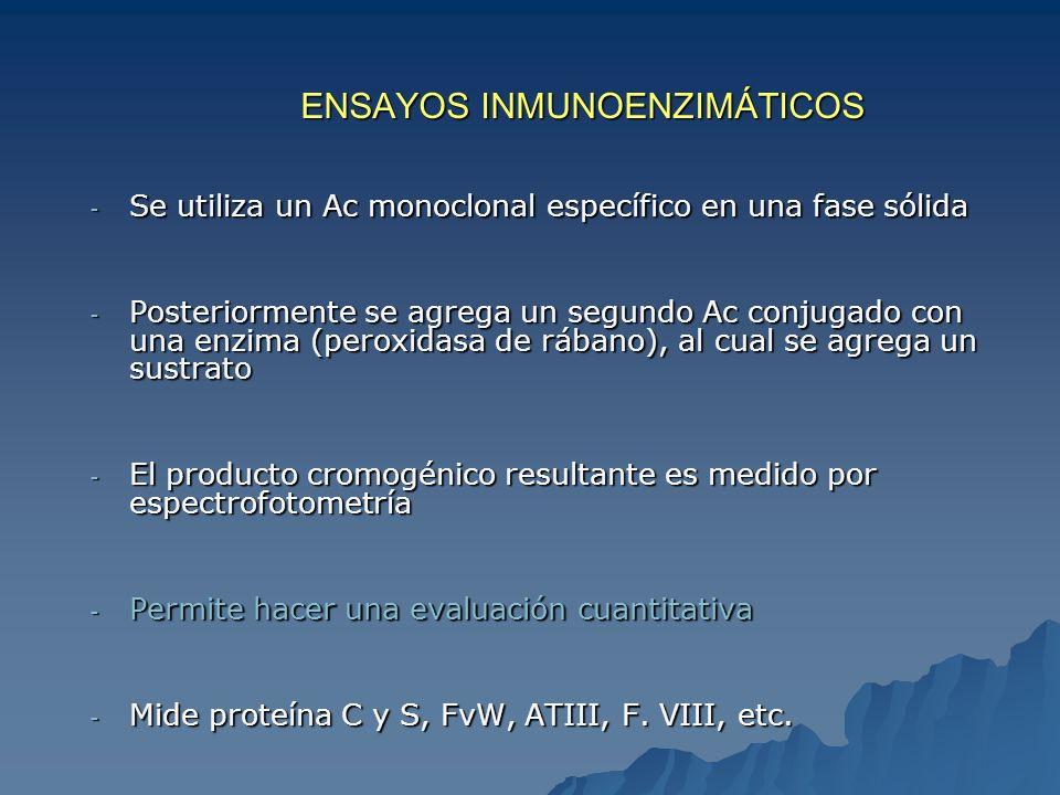 ENSAYOS INMUNOENZIMÁTICOS - Se utiliza un Ac monoclonal específico en una fase sólida - Posteriormente se agrega un segundo Ac conjugado con una enzim