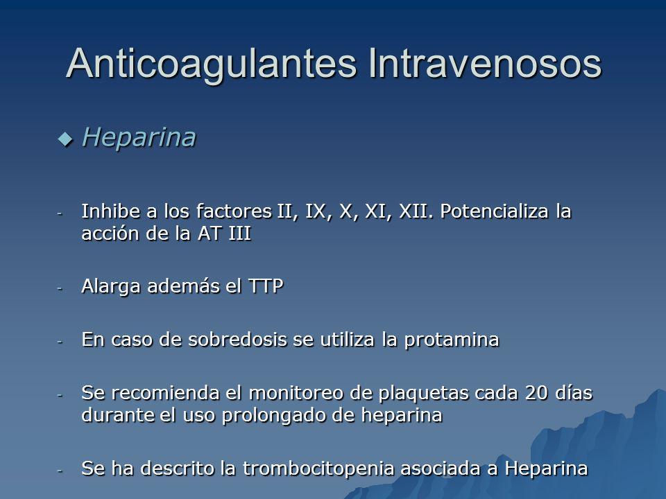 Anticoagulantes Intravenosos Heparina Heparina - Inhibe a los factores II, IX, X, XI, XII. Potencializa la acción de la AT III - Alarga además el TTP