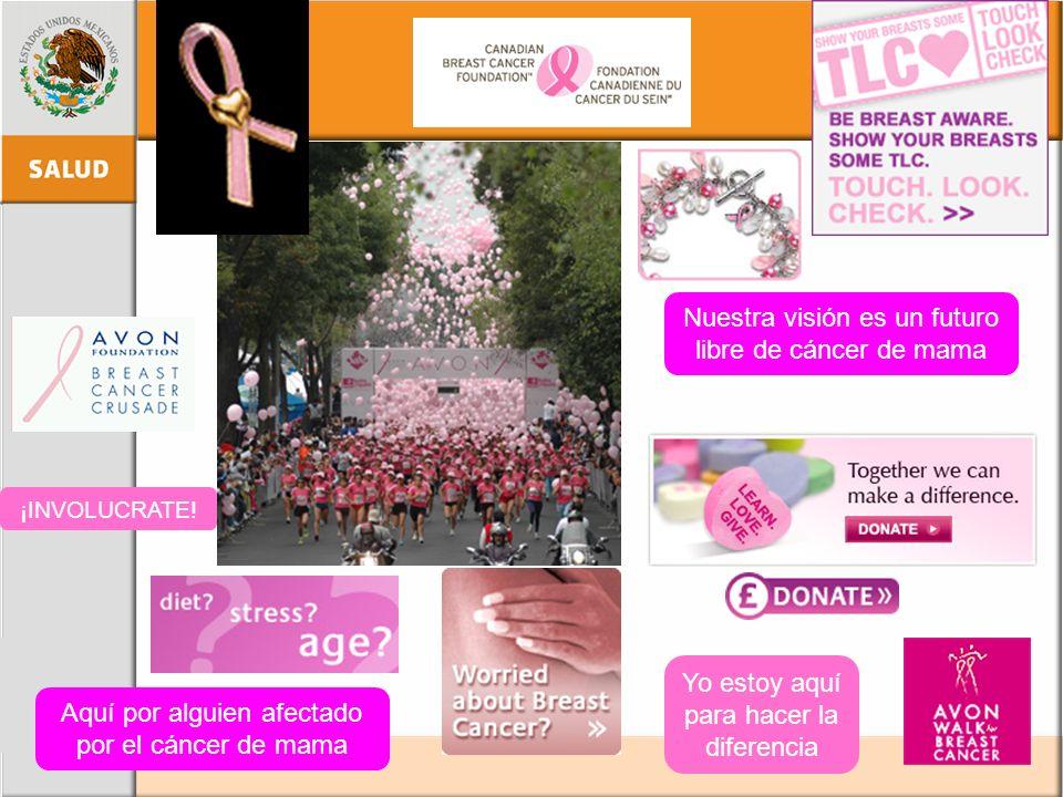 Yo estoy aquí para hacer la diferencia Nuestra visión es un futuro libre de cáncer de mama ¡INVOLUCRATE! Aquí por alguien afectado por el cáncer de ma