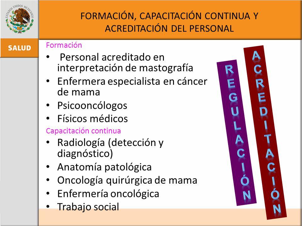 FORMACIÓN, CAPACITACIÓN CONTINUA Y ACREDITACIÓN DEL PERSONAL Formación Personal acreditado en interpretación de mastografía Enfermera especialista en