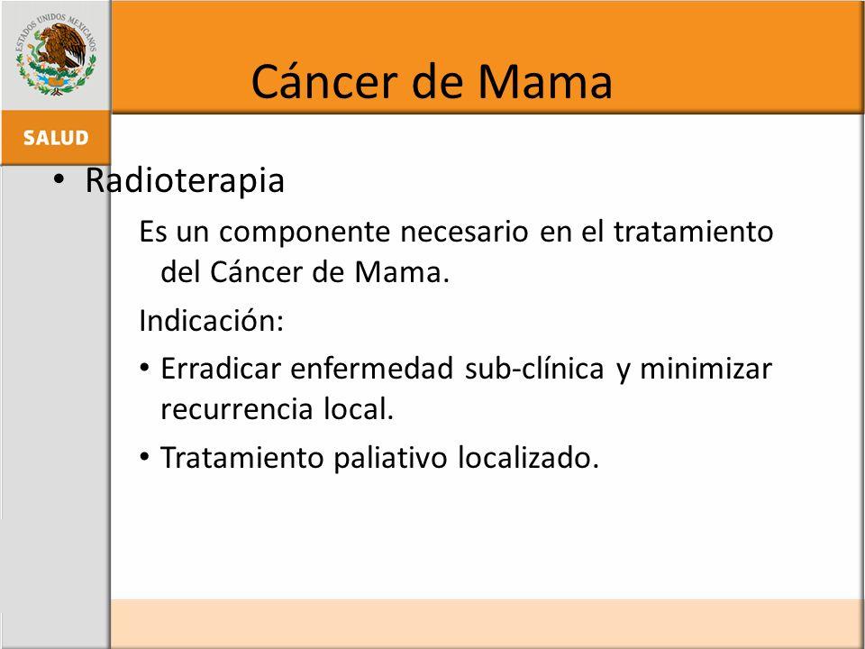 Cáncer de Mama Radioterapia Es un componente necesario en el tratamiento del Cáncer de Mama. Indicación: Erradicar enfermedad sub-clínica y minimizar