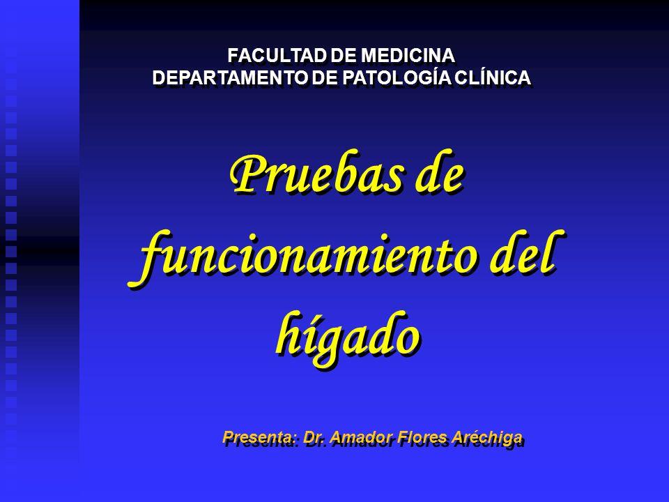 Pruebas de funcionamiento del hígado Pruebas de funcionamiento del hígado FACULTAD DE MEDICINA DEPARTAMENTO DE PATOLOGÍA CLÍNICA FACULTAD DE MEDICINA