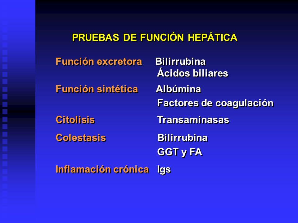 PRUEBAS DE FUNCIÓN HEPÁTICA Función excretora Bilirrubina Ácidos biliares Función sintética Albúmina Factores de coagulación Citolisis Transaminasas C