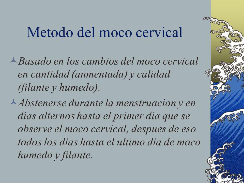 Metodo del moco cervical Basado en los cambios del moco cervical en cantidad (aumentada) y calidad (filante y humedo). Abstenerse durante la menstruac