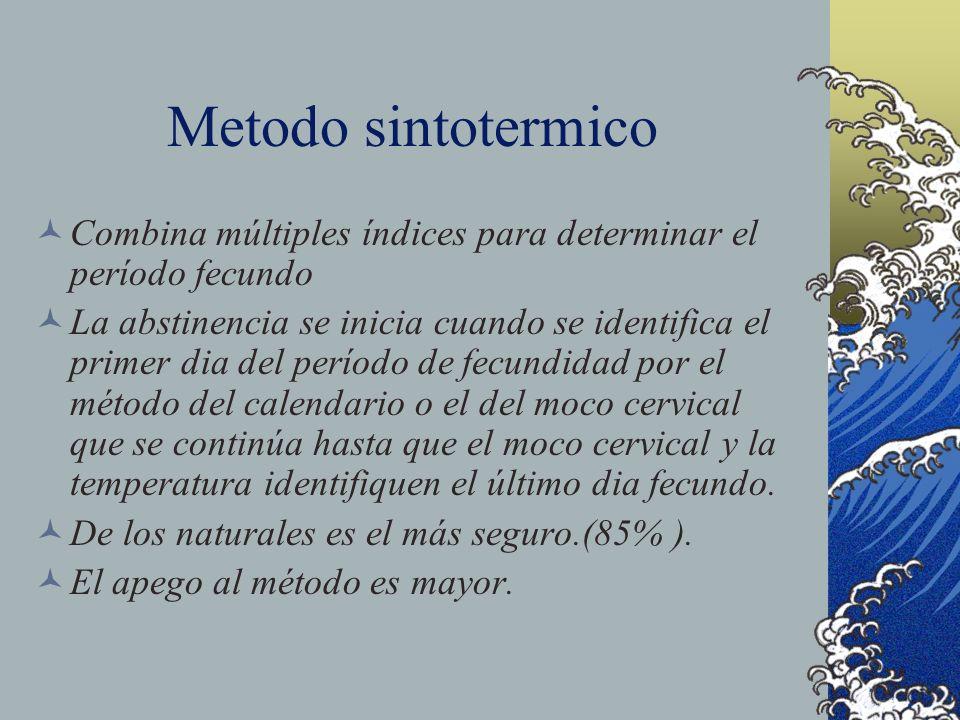 Metodo sintotermico Combina múltiples índices para determinar el período fecundo La abstinencia se inicia cuando se identifica el primer dia del perío