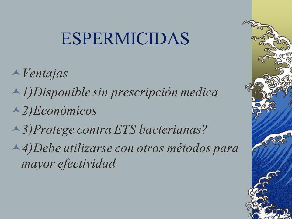 ESPERMICIDAS Ventajas 1)Disponible sin prescripción medica 2)Económicos 3)Protege contra ETS bacterianas? 4)Debe utilizarse con otros métodos para may