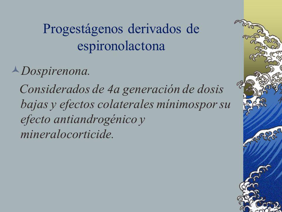 Progestágenos derivados de espironolactona Dospirenona. Considerados de 4a generación de dosis bajas y efectos colaterales mínimospor su efecto antian