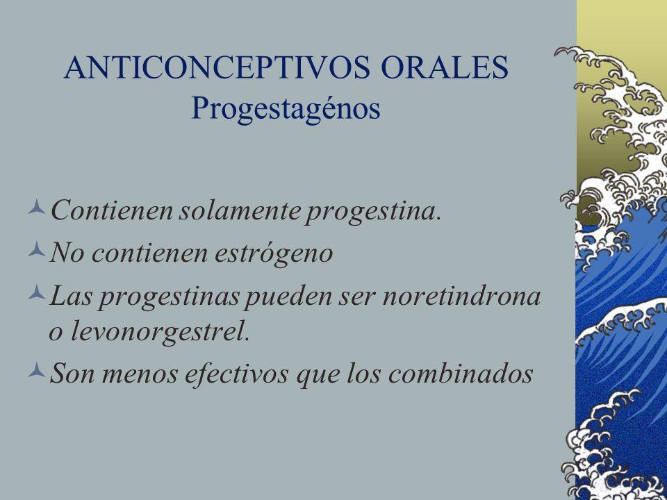 ANTICONCEPTIVOS ORALES Progestagénos Contienen solamente progestina. No contienen estrógeno Las progestinas pueden ser noretindrona o levonorgestrel.