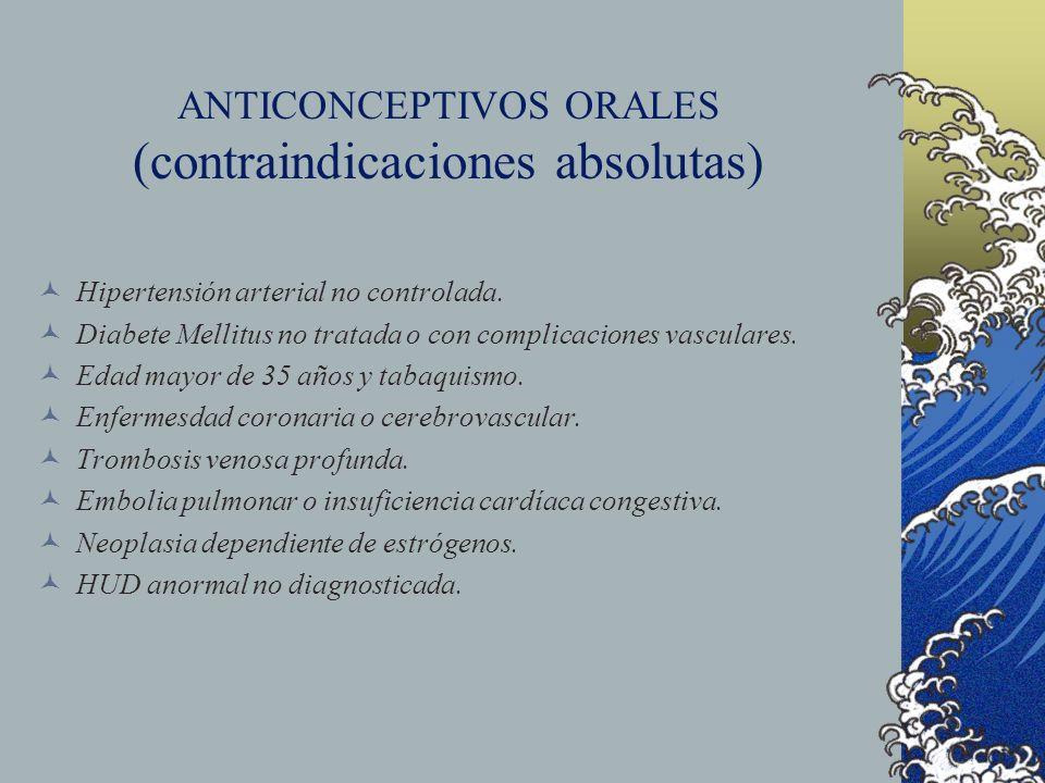 ANTICONCEPTIVOS ORALES (contraindicaciones absolutas) Hipertensión arterial no controlada. Diabete Mellitus no tratada o con complicaciones vasculares