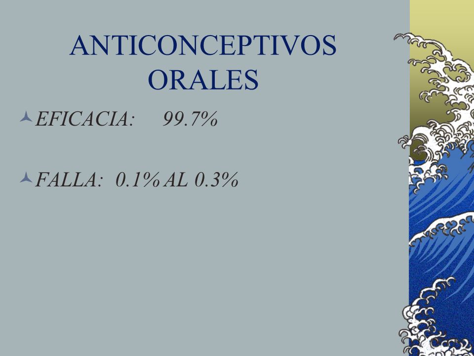 ANTICONCEPTIVOS ORALES EFICACIA: 99.7% FALLA: 0.1% AL 0.3%