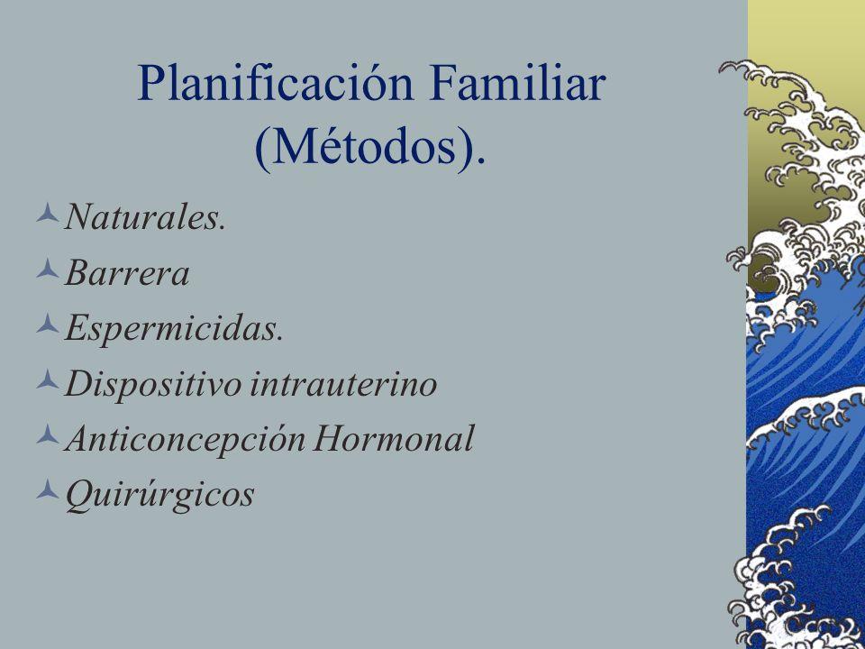 Planificación Familiar (Métodos). Naturales. Barrera Espermicidas. Dispositivo intrauterino Anticoncepción Hormonal Quirúrgicos